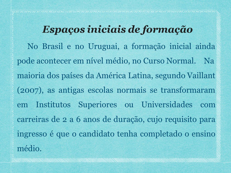 Espaços iniciais de formação No Brasil e no Uruguai, a formação inicial ainda pode acontecer em nível médio, no Curso Normal. Na maioria dos países da