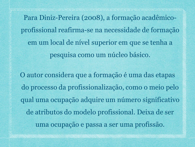 Para Diniz-Pereira (2008), a formação acadêmico- profissional reafirma-se na necessidade de formação em um local de nível superior em que se tenha a p