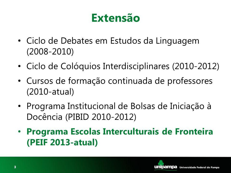 3 Extensão Ciclo de Debates em Estudos da Linguagem (2008-2010) Ciclo de Colóquios Interdisciplinares (2010-2012) Cursos de formação continuada de pro