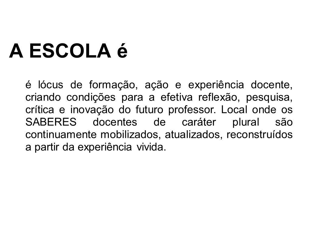 A ESCOLA é é lócus de formação, ação e experiência docente, criando condições para a efetiva reflexão, pesquisa, crítica e inovação do futuro professor.