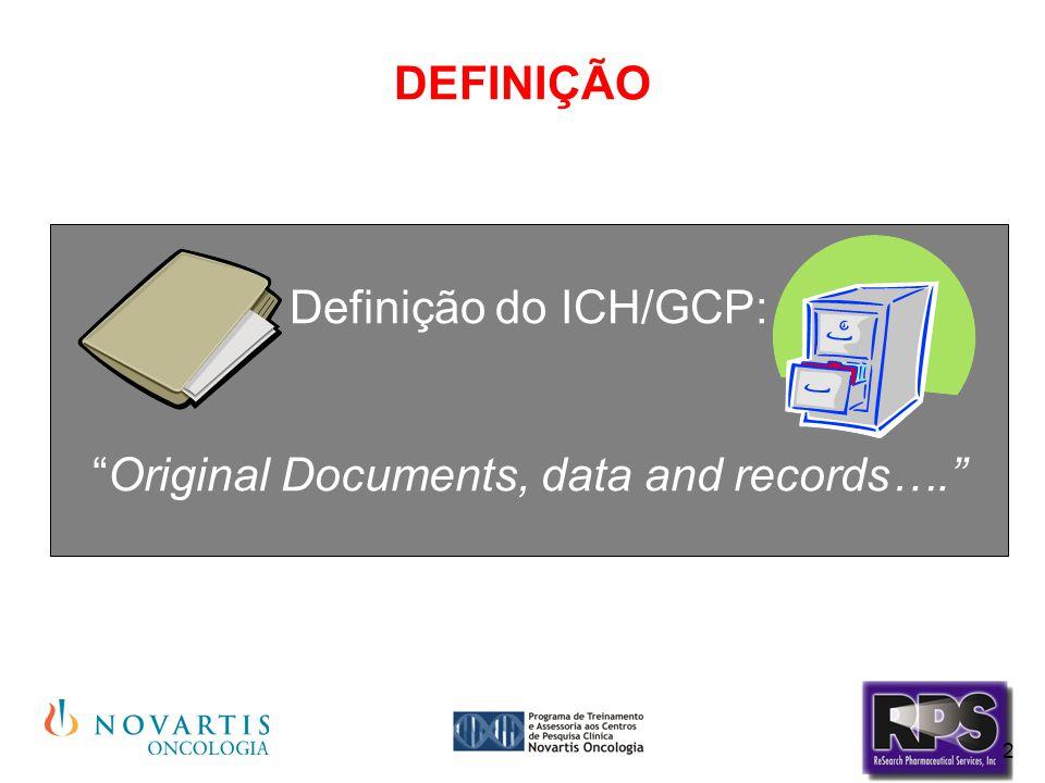 """2 DEFINIÇÃO Definição do ICH/GCP: """"Original Documents, data and records…."""""""