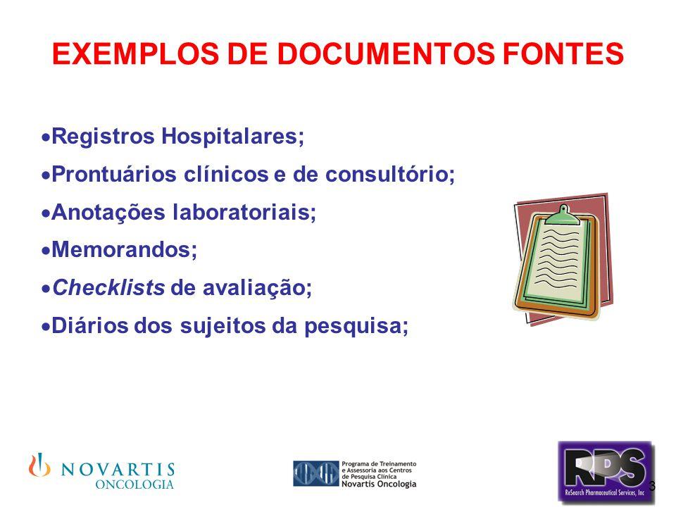 3 EXEMPLOS DE DOCUMENTOS FONTES  Registros Hospitalares;  Prontuários clínicos e de consultório;  Anotações laboratoriais;  Memorandos;  Checklis
