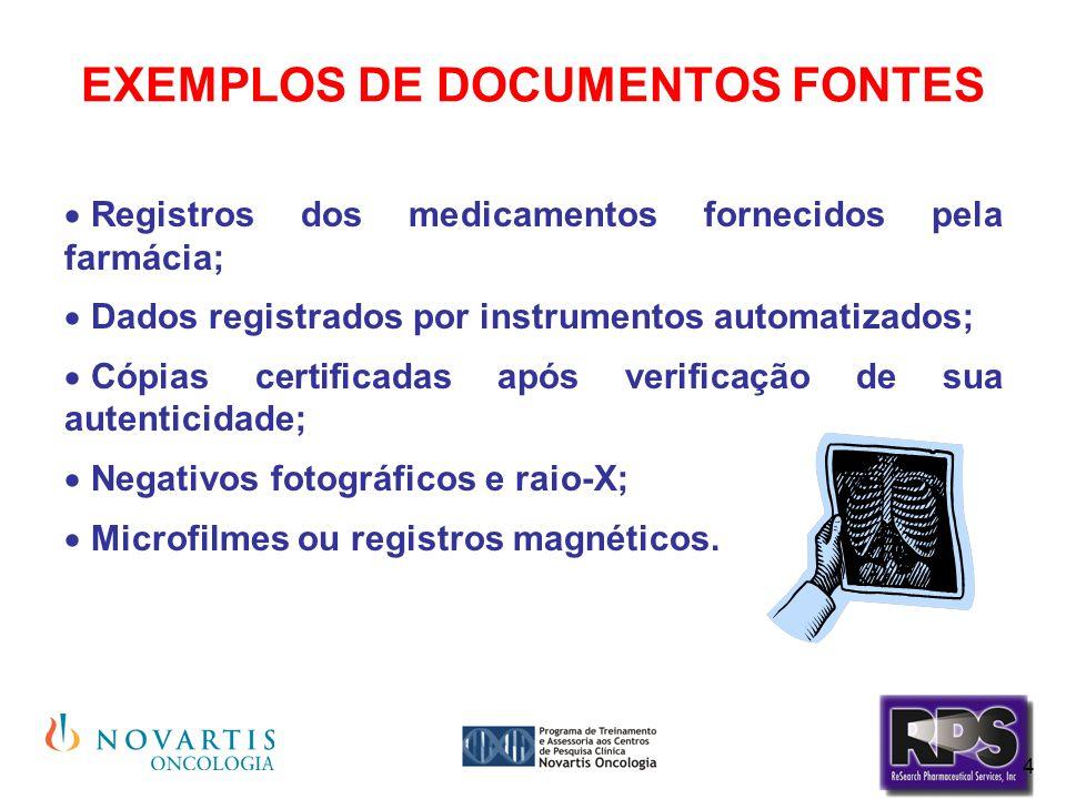 4 EXEMPLOS DE DOCUMENTOS FONTES  Registros dos medicamentos fornecidos pela farmácia;  Dados registrados por instrumentos automatizados;  Cópias ce