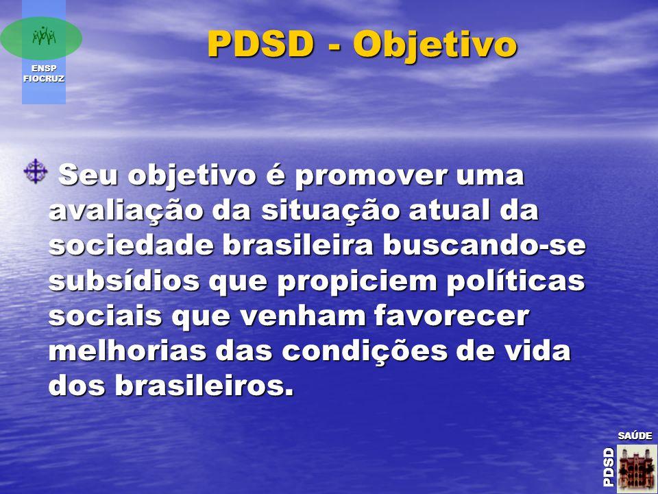 ENSP FIOCRUZ SAÚDE PDSD SAÚDE PDSDSAÚDE PDSD PDSD - Objetivo Seu objetivo é promover uma avaliação da situação atual da sociedade brasileira buscando-se subsídios que propiciem políticas sociais que venham favorecer melhorias das condições de vida dos brasileiros.