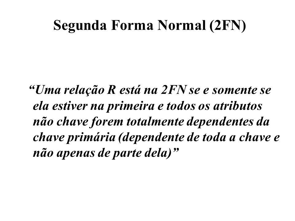 """Segunda Forma Normal (2FN) """"Uma relação R está na 2FN se e somente se ela estiver na primeira e todos os atributos não chave forem totalmente dependen"""
