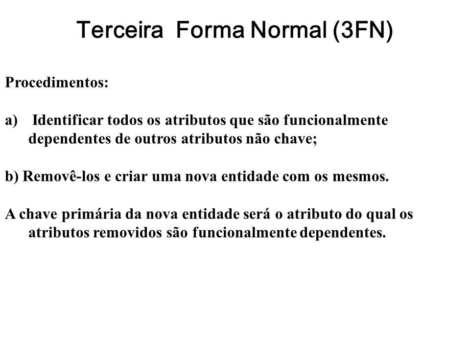 Terceira Forma Normal (3FN) Procedimentos: a) Identificar todos os atributos que são funcionalmente dependentes de outros atributos não chave; b) Remo