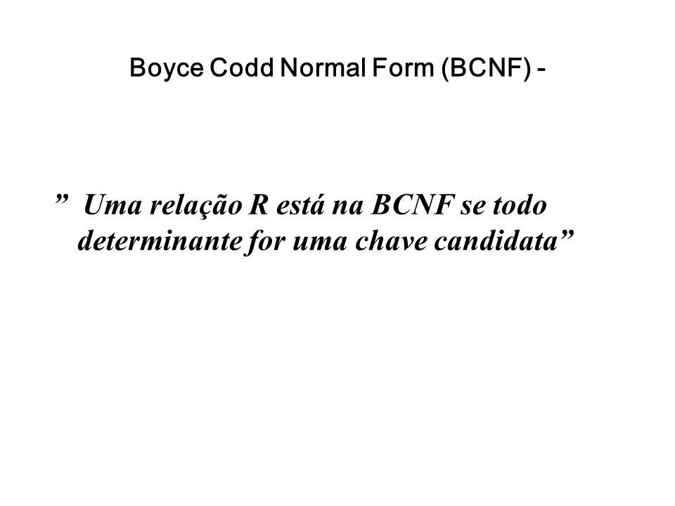 """Boyce Codd Normal Form (BCNF) - """" Uma relação R está na BCNF se todo determinante for uma chave candidata"""""""