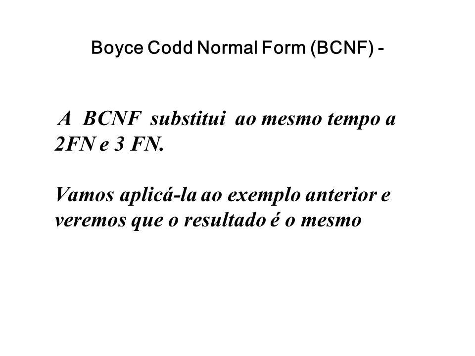 Boyce Codd Normal Form (BCNF) - A BCNF substitui ao mesmo tempo a 2FN e 3 FN. Vamos aplicá-la ao exemplo anterior e veremos que o resultado é o mesmo
