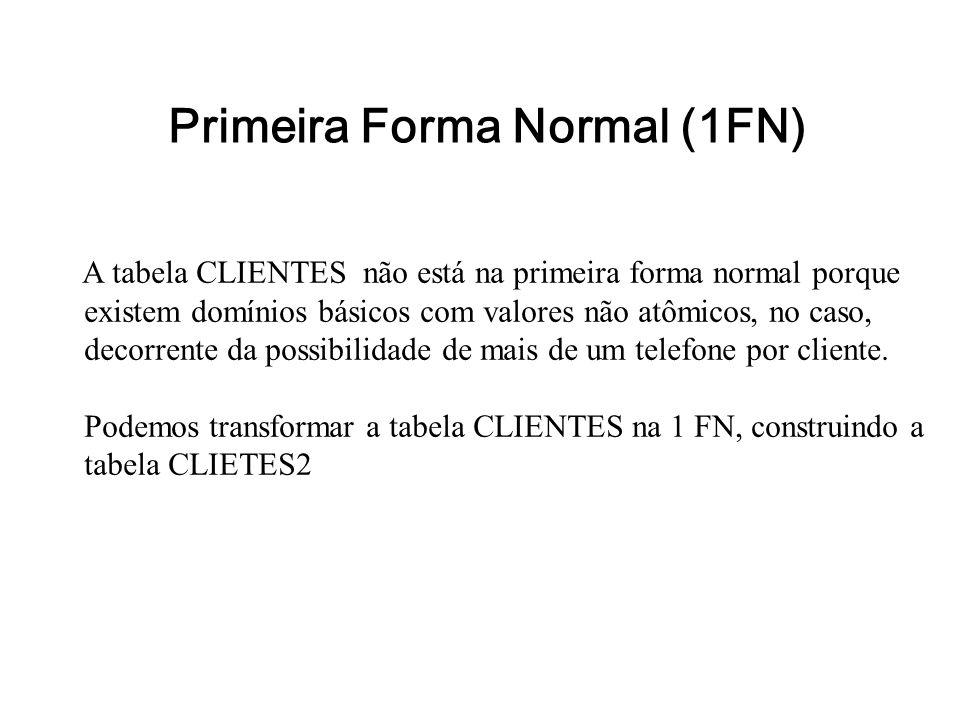 Primeira Forma Normal (1FN) A tabela CLIENTES não está na primeira forma normal porque existem domínios básicos com valores não atômicos, no caso, dec
