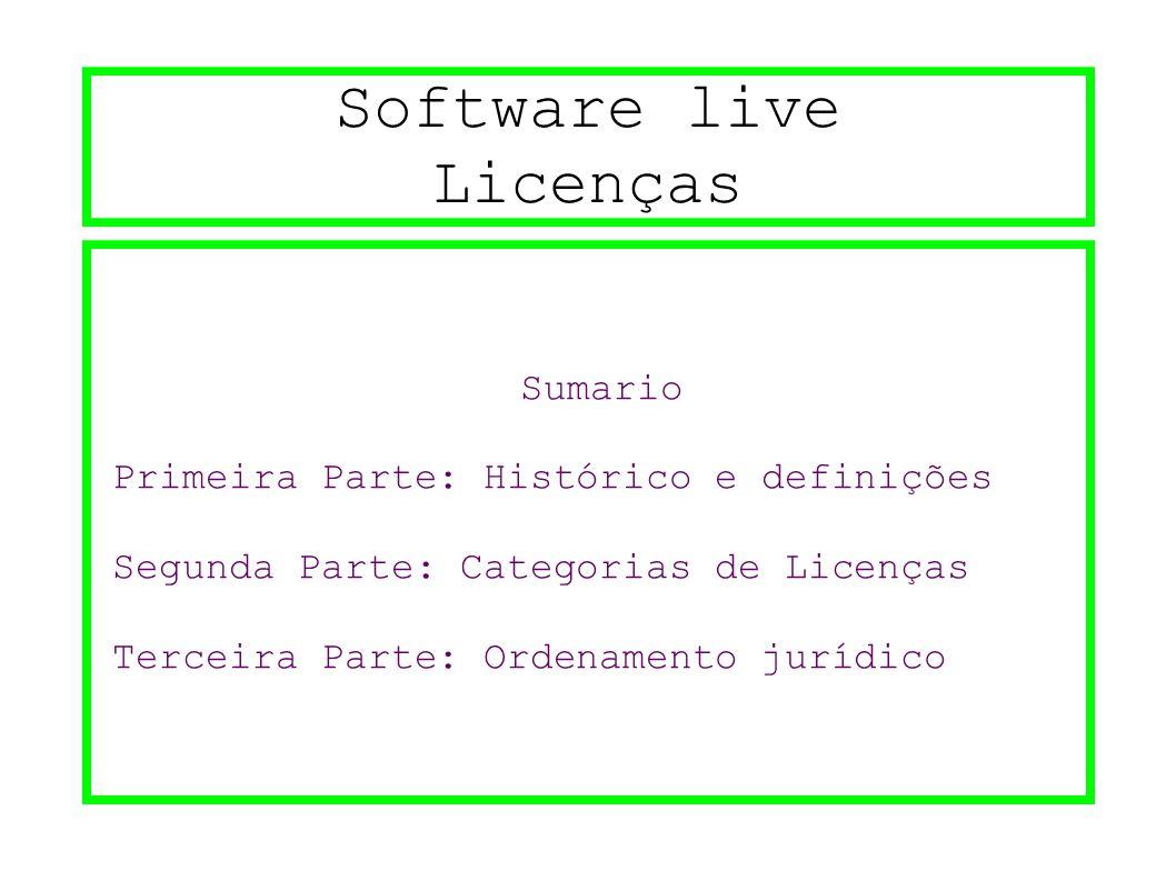 Software live Licenças Sumario Primeira Parte: Histórico e definições Segunda Parte: Categorias de Licenças Terceira Parte: Ordenamento jurídico