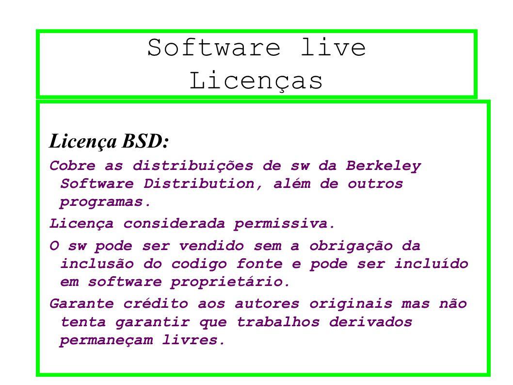 Software live Licenças Licença BSD: Cobre as distribuições de sw da Berkeley Software Distribution, além de outros programas. Licença considerada perm