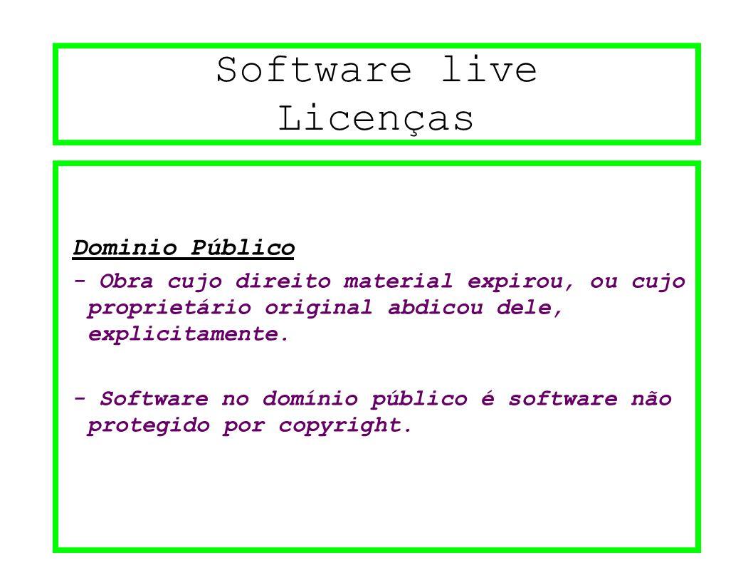 Software live Licenças Dominio Público - Obra cujo direito material expirou, ou cujo proprietário original abdicou dele, explicitamente. - Software no