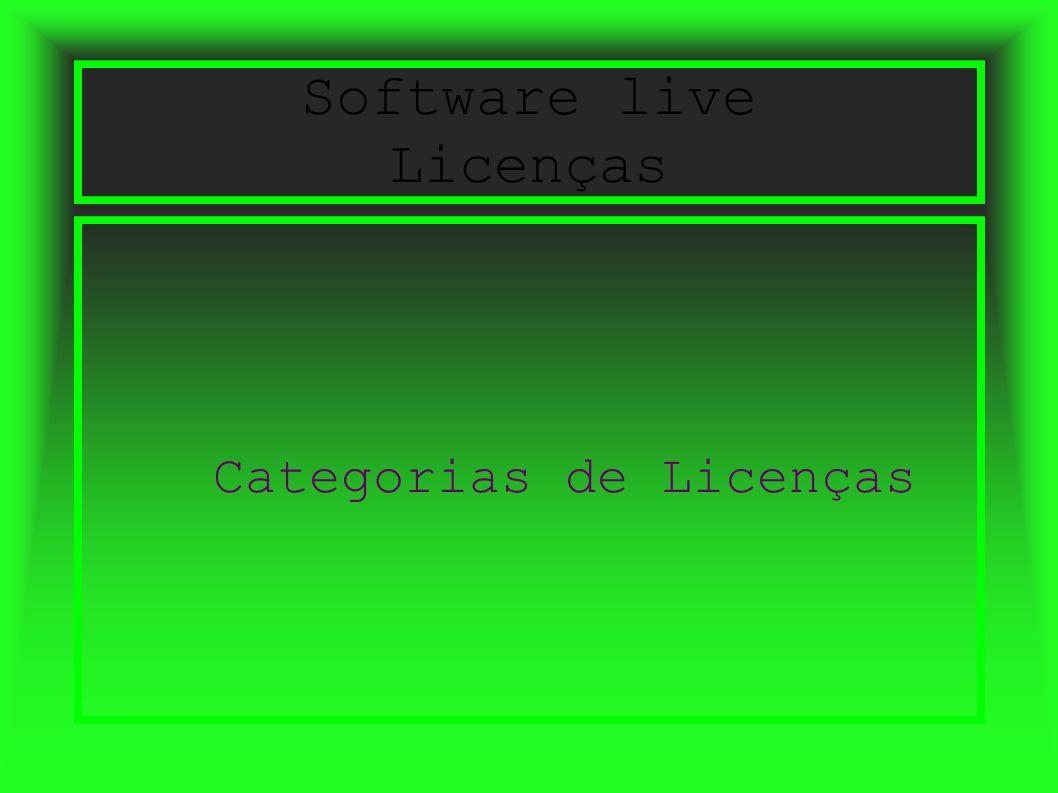 Software live Licenças Categorias de Licenças
