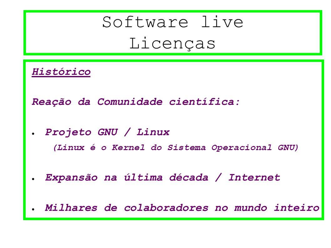 Software live Licenças Histórico Reação da Comunidade científica: ● Projeto GNU / Linux (Linux é o Kernel do Sistema Operacional GNU) ● Expansão na última década / Internet ● Milhares de colaboradores no mundo inteiro