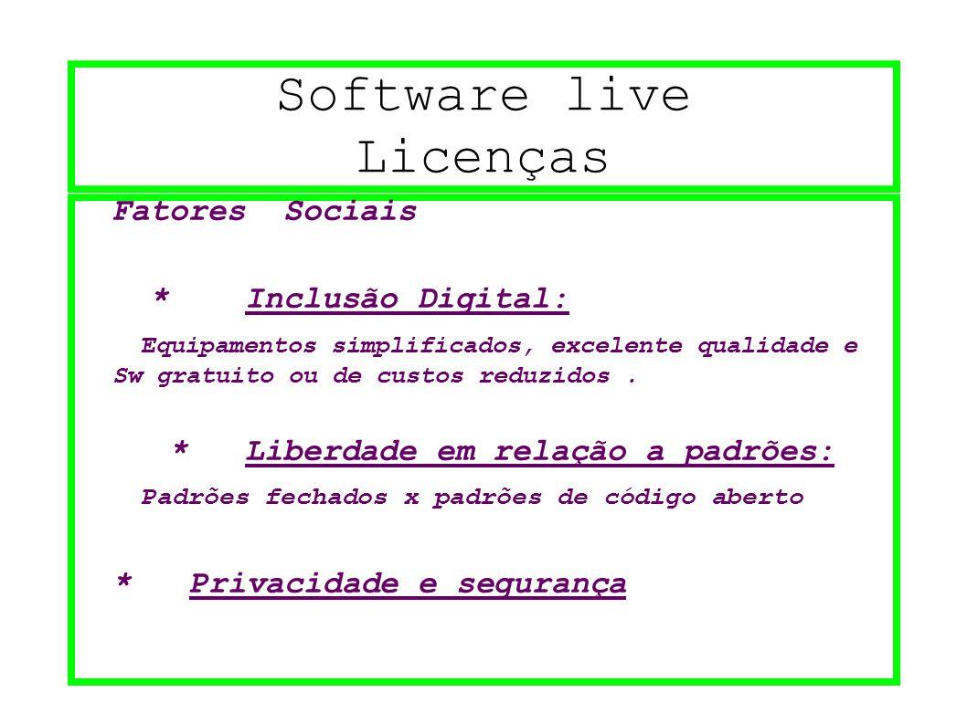Software live Licenças Fatores Sociais * Inclusão Digital: Equipamentos simplificados, excelente qualidade e Sw gratuito ou de custos reduzidos. * Lib