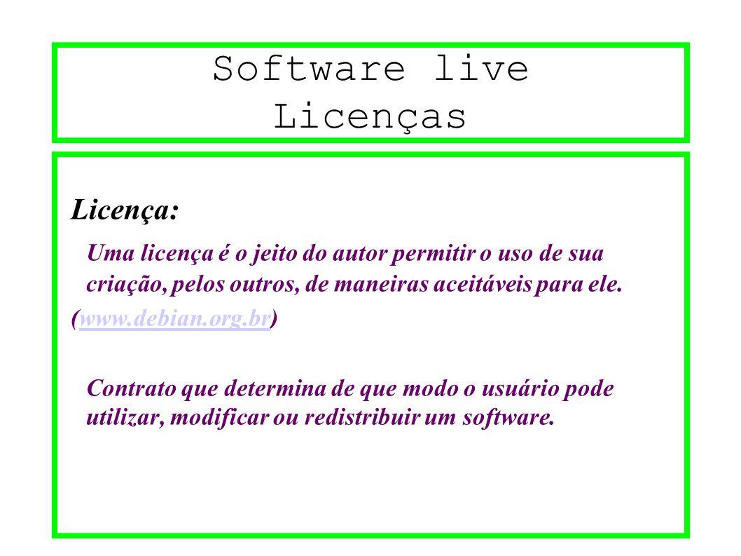 Software live Licenças Licença: Uma licença é o jeito do autor permitir o uso de sua criação, pelos outros, de maneiras aceitáveis para ele. (www.debi