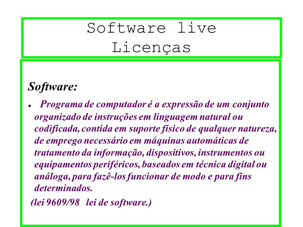 Software live Licenças Software: ● P rograma de computador é a expressão de um conjunto organizado de instruções em linguagem natural ou codificada, c