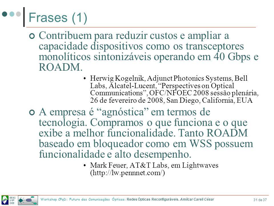 EESC USP DEE Workshop CPqD: Futuro das Comunicações Ópticas: Redes Ópticas Reconfiguráveis. Amílcar Careli César 31 de 37 Frases (1) Contribuem para r