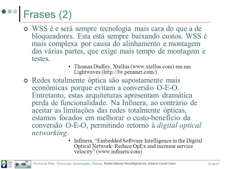 EESC USP DEE Workshop CPqD: Futuro das Comunicações Ópticas: Redes Ópticas Reconfiguráveis. Amílcar Careli César 32 de 37 Frases (2) WSS é e será semp