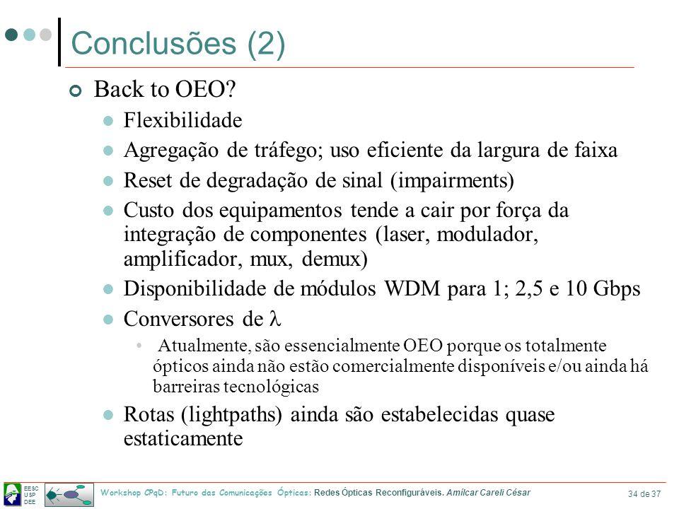 EESC USP DEE Workshop CPqD: Futuro das Comunicações Ópticas: Redes Ópticas Reconfiguráveis. Amílcar Careli César 34 de 37 Conclusões (2) Back to OEO?