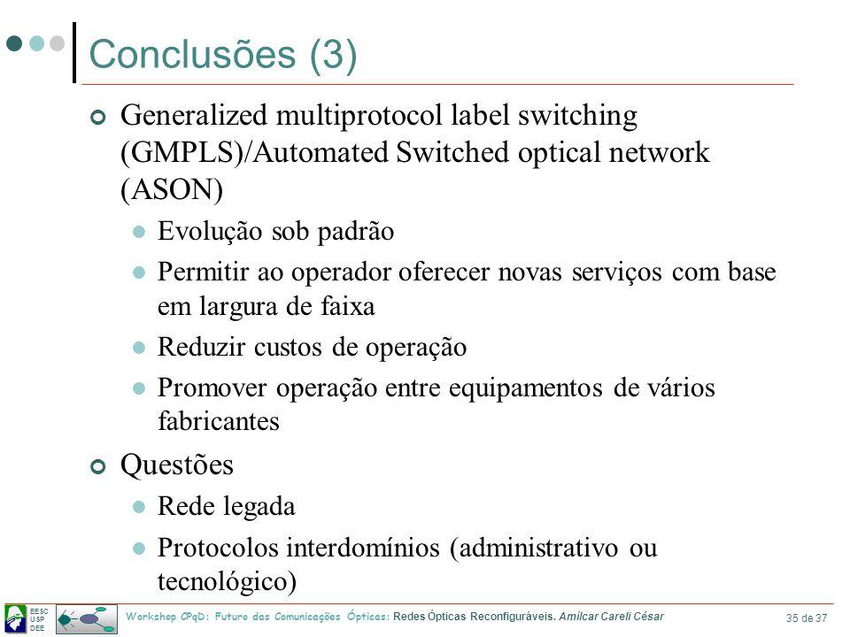 EESC USP DEE Workshop CPqD: Futuro das Comunicações Ópticas: Redes Ópticas Reconfiguráveis. Amílcar Careli César 35 de 37 Conclusões (3) Generalized m