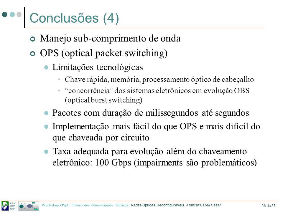 EESC USP DEE Workshop CPqD: Futuro das Comunicações Ópticas: Redes Ópticas Reconfiguráveis. Amílcar Careli César 36 de 37 Conclusões (4) Manejo sub-co