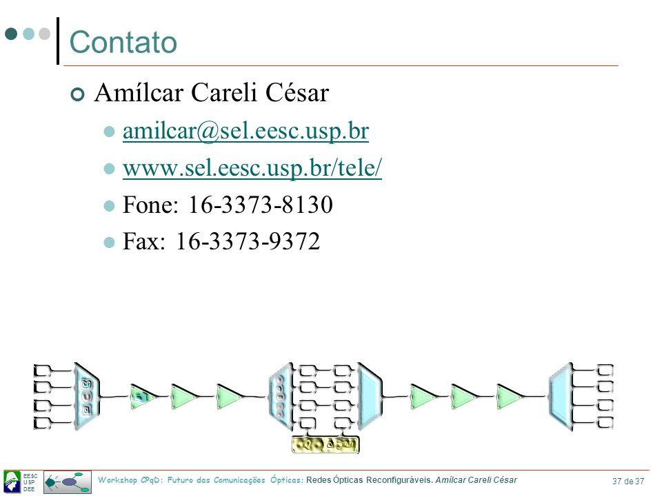 EESC USP DEE Workshop CPqD: Futuro das Comunicações Ópticas: Redes Ópticas Reconfiguráveis. Amílcar Careli César 37 de 37 Contato Amílcar Careli César