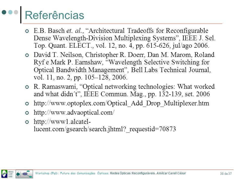 EESC USP DEE Workshop CPqD: Futuro das Comunicações Ópticas: Redes Ópticas Reconfiguráveis. Amílcar Careli César 38 de 37 Referências E.B. Basch et. a