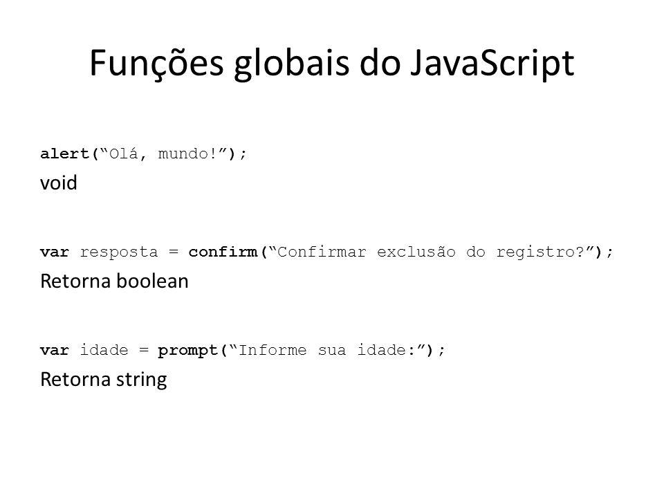Funções globais do JavaScript alert( Olá, mundo! ); void var resposta = confirm( Confirmar exclusão do registro? ); Retorna boolean var idade = prompt( Informe sua idade: ); Retorna string