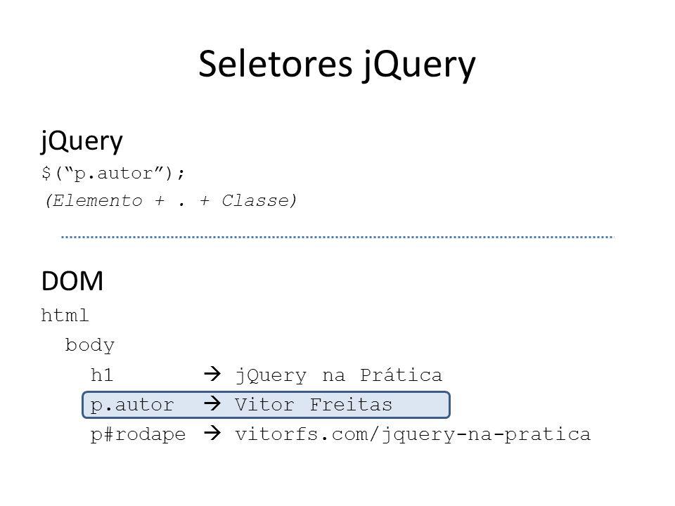 """Seletores jQuery jQuery $(""""p.autor""""); (Elemento +. + Classe) DOM html body h1  jQuery na Prática p.autor  Vitor Freitas p#rodape  vitorfs.com/jquer"""