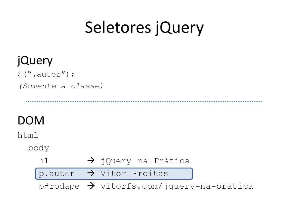 Seletores jQuery jQuery $( .autor ); (Somente a classe) DOM html body h1  jQuery na Prática p.autor  Vitor Freitas p#rodape  vitorfs.com/jquery-na-pratica