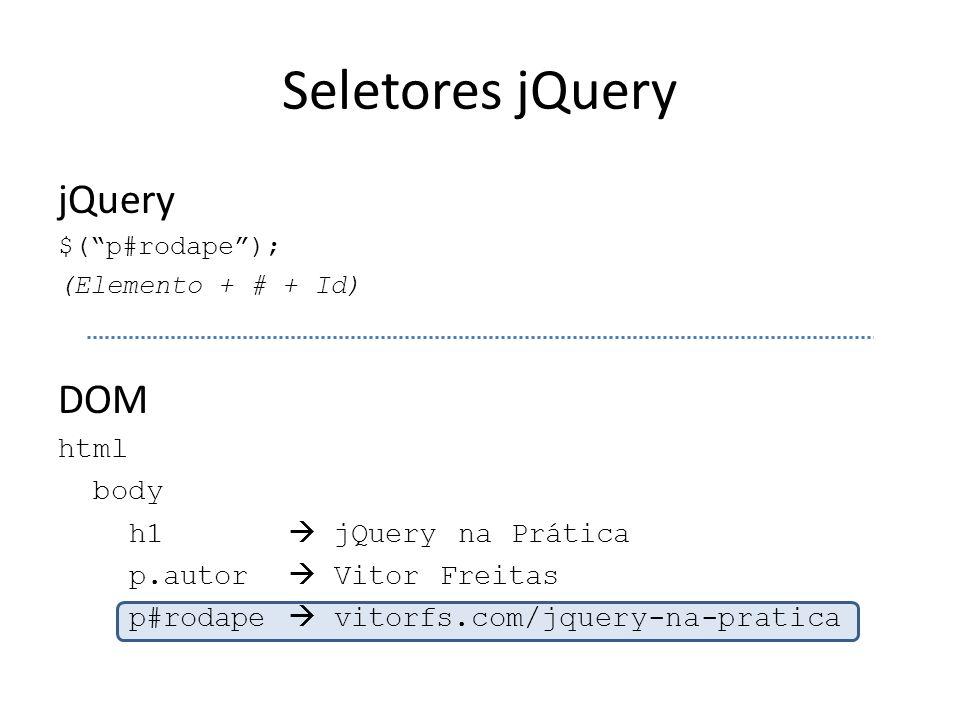 """Seletores jQuery jQuery $(""""p#rodape""""); (Elemento + # + Id) DOM html body h1  jQuery na Prática p.autor  Vitor Freitas p#rodape  vitorfs.com/jquery-"""