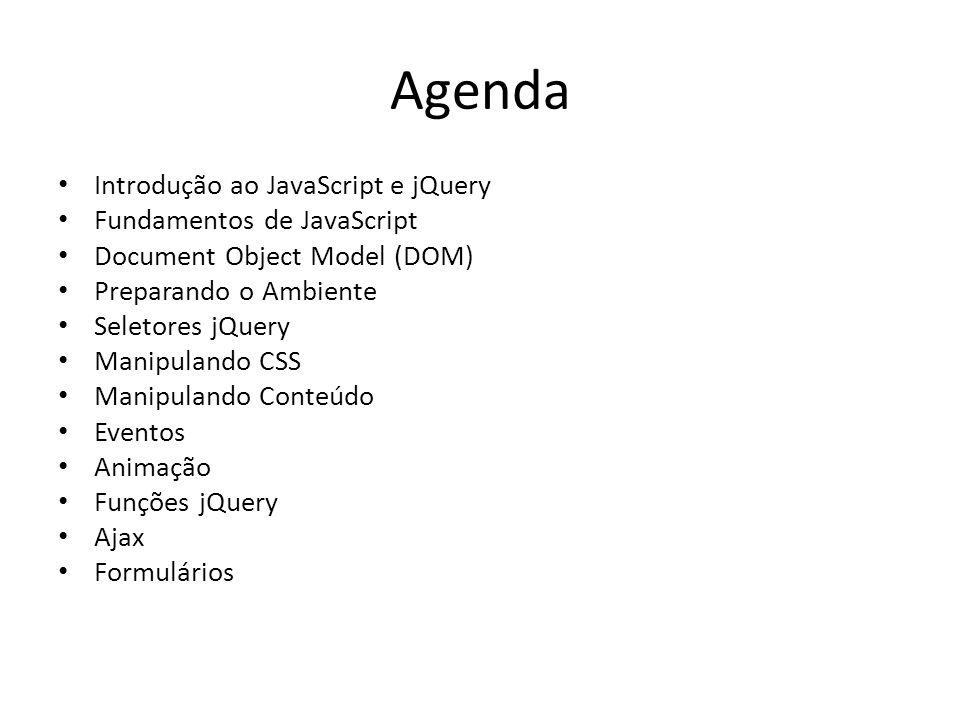 Agenda Introdução ao JavaScript e jQuery Fundamentos de JavaScript Document Object Model (DOM) Preparando o Ambiente Seletores jQuery Manipulando CSS Manipulando Conteúdo Eventos Animação Funções jQuery Ajax Formulários