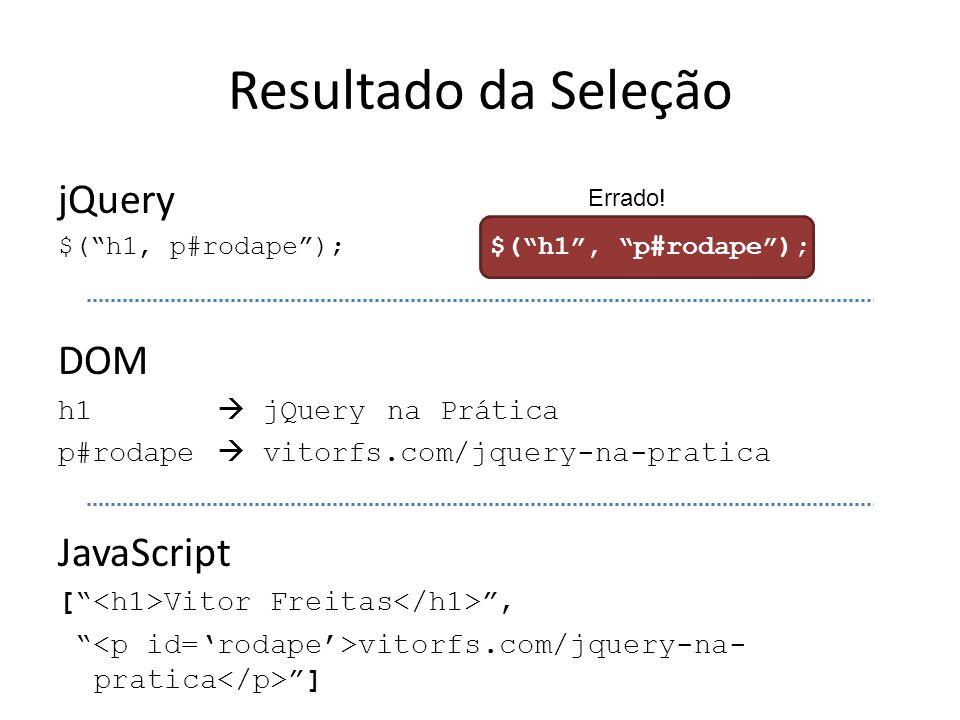 """Resultado da Seleção jQuery $(""""h1, p#rodape""""); $(""""h1"""", """"p#rodape""""); DOM h1  jQuery na Prática p#rodape  vitorfs.com/jquery-na-pratica JavaScript ["""""""