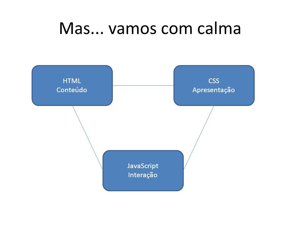 Mas... vamos com calma HTML Conteúdo CSS Apresentação JavaScript Interação
