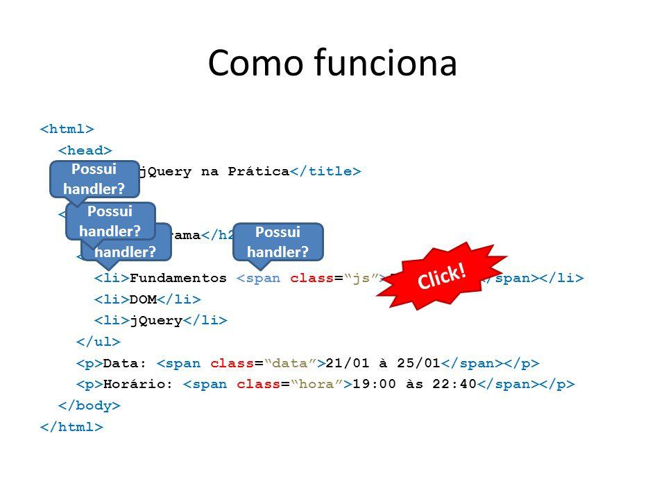 Como funciona jQuery na Prática Cronograma Fundamentos JavaScript DOM jQuery Data: 21/01 à 25/01 Horário: 19:00 às 22:40 Click! Possui handler?