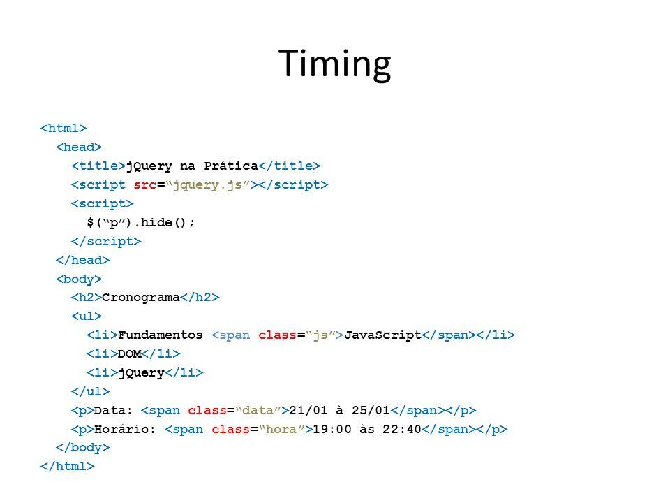 Timing jQuery na Prática $( p ).hide(); Cronograma Fundamentos JavaScript DOM jQuery Data: 21/01 à 25/01 Horário: 19:00 às 22:40
