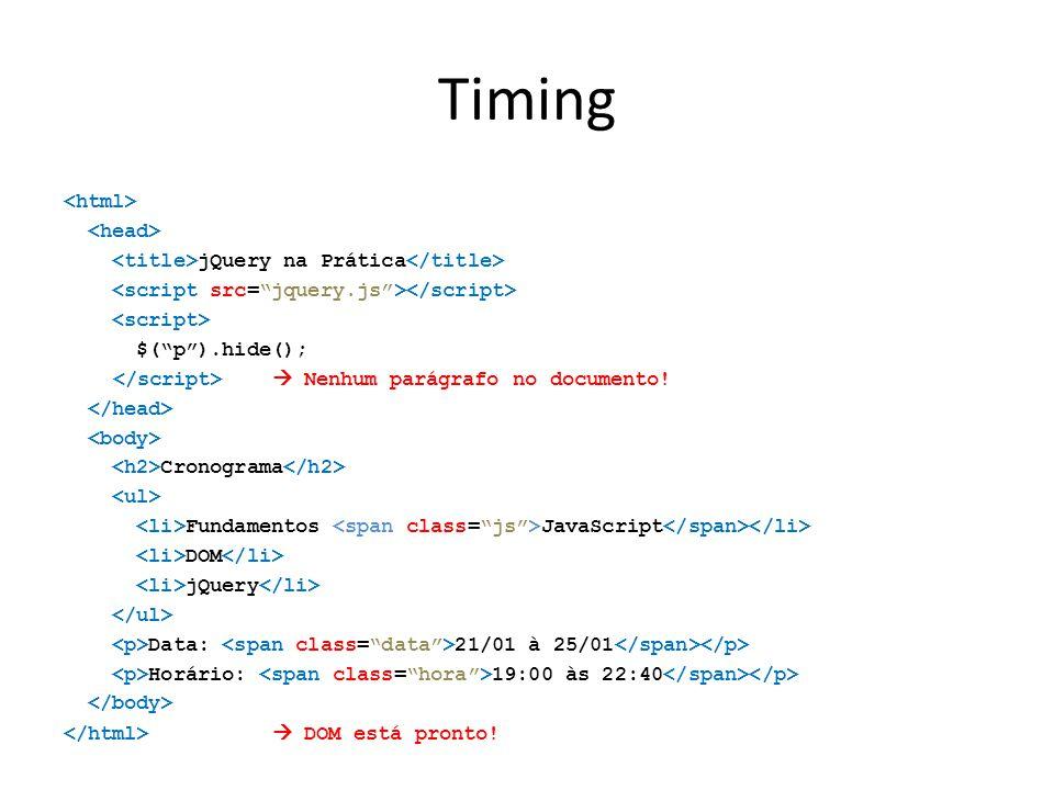 """Timing jQuery na Prática $(""""p"""").hide();  Nenhum parágrafo no documento! Cronograma Fundamentos JavaScript DOM jQuery Data: 21/01 à 25/01 Horário: 19:"""