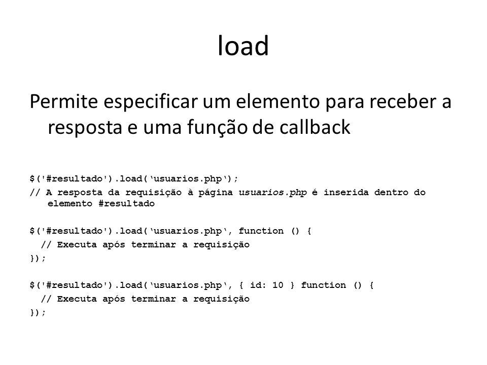 load Permite especificar um elemento para receber a resposta e uma função de callback $( #resultado ).load('usuarios.php'); // A resposta da requisição à página usuarios.php é inserida dentro do elemento #resultado $( #resultado ).load('usuarios.php', function () { // Executa após terminar a requisição }); $( #resultado ).load('usuarios.php', { id: 10 } function () { // Executa após terminar a requisição });
