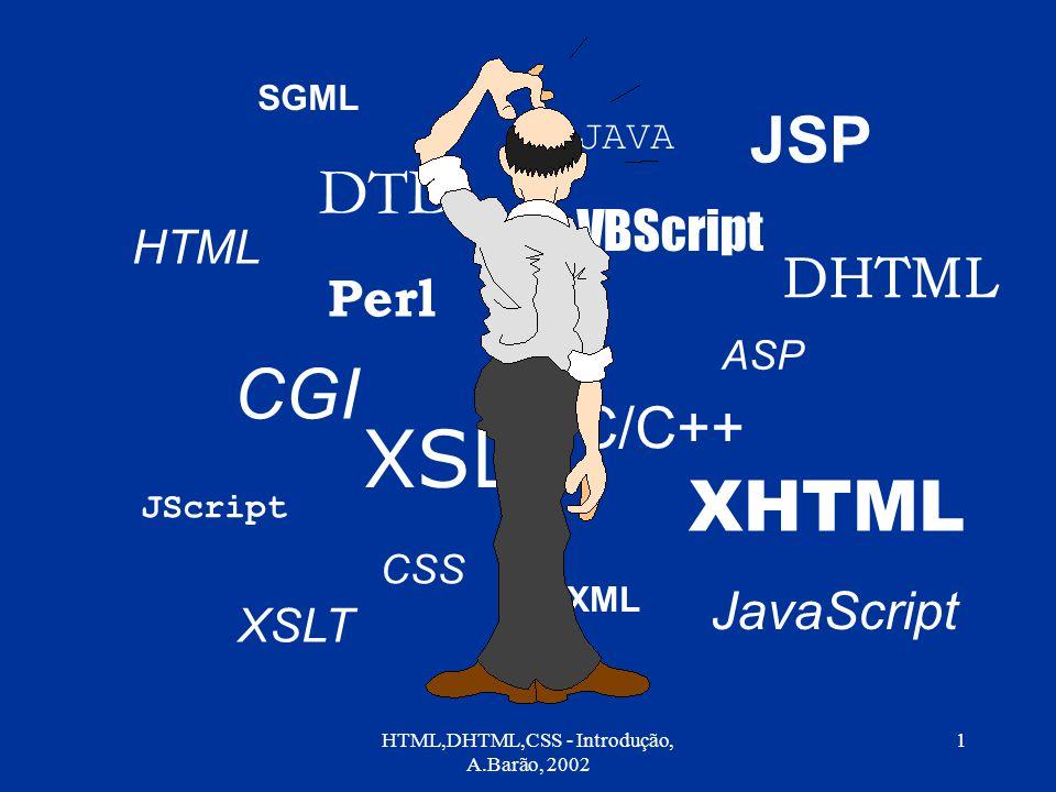 HTML,DHTML,CSS - Introdução, A.Barão, 2002 1 SGML HTML CGI Perl C/C++ CSS VBScript JavaScript JScript ASP JSP JAVA XSL XSLT XHTML DHTML DTD XML