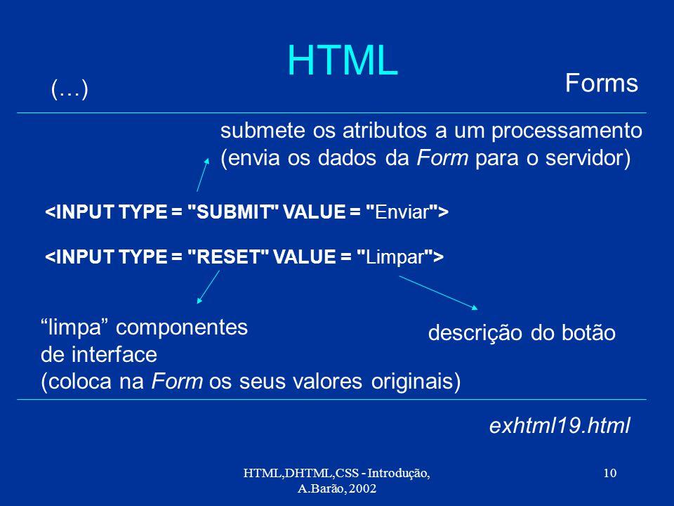 HTML,DHTML,CSS - Introdução, A.Barão, 2002 10 HTML Forms (…) exhtml19.html descrição do botão limpa componentes de interface (coloca na Form os seus valores originais) submete os atributos a um processamento (envia os dados da Form para o servidor)