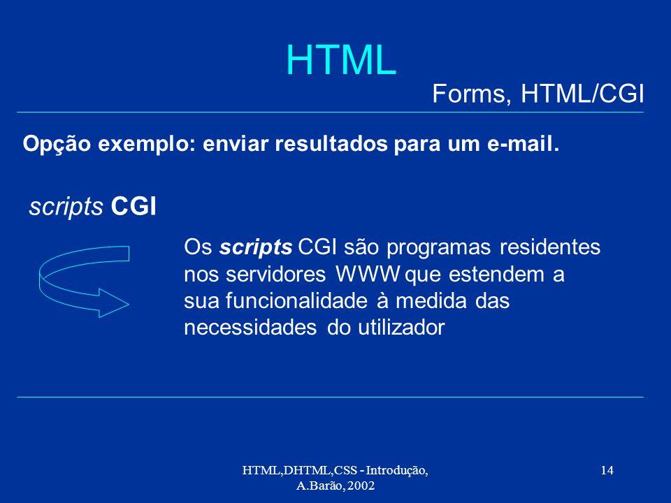 HTML,DHTML,CSS - Introdução, A.Barão, 2002 14 HTML Opção exemplo: enviar resultados para um e-mail.