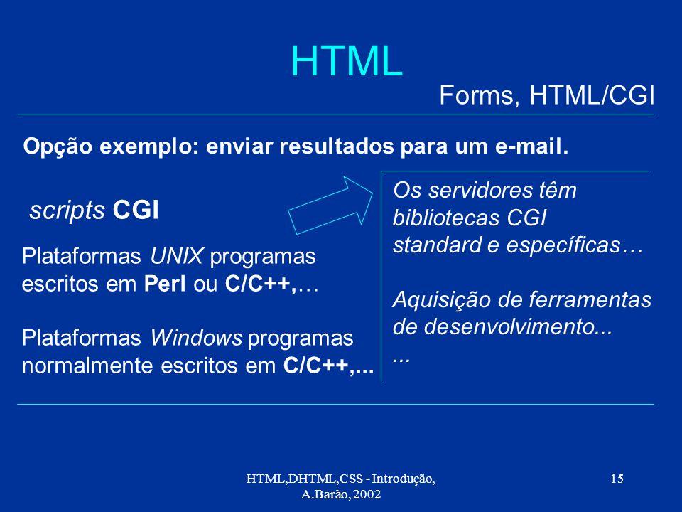 HTML,DHTML,CSS - Introdução, A.Barão, 2002 15 HTML Opção exemplo: enviar resultados para um e-mail.