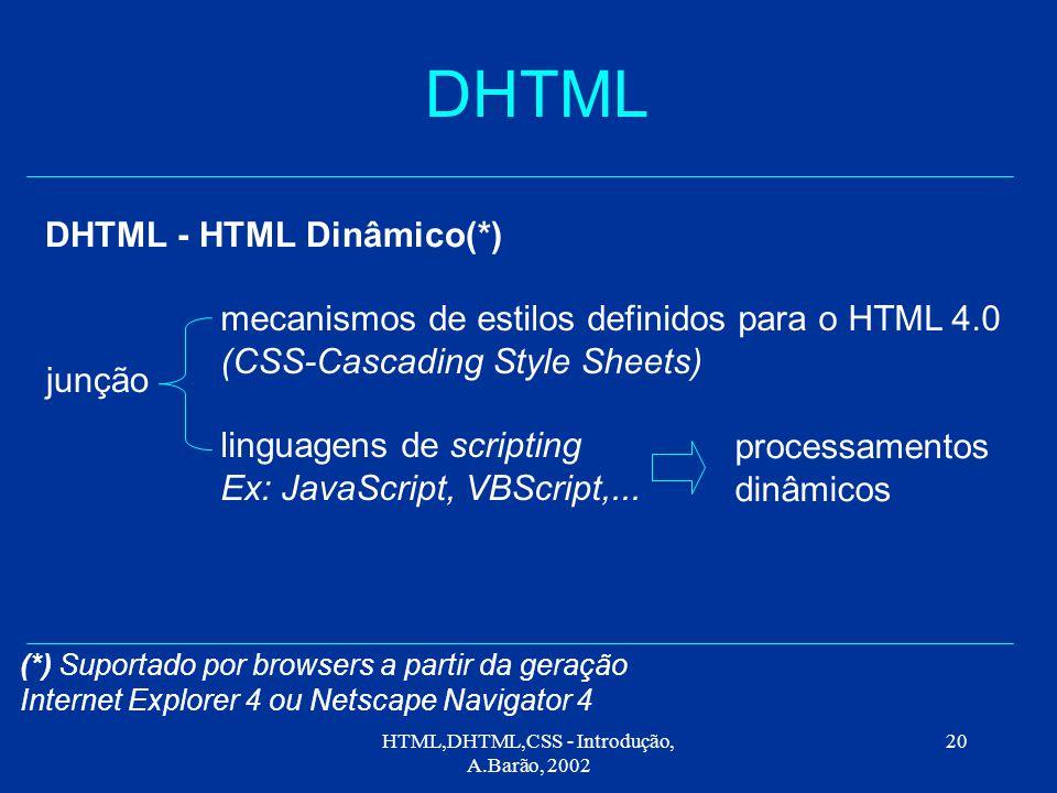 HTML,DHTML,CSS - Introdução, A.Barão, 2002 20 DHTML DHTML - HTML Dinâmico(*) mecanismos de estilos definidos para o HTML 4.0 (CSS-Cascading Style Sheets) linguagens de scripting Ex: JavaScript, VBScript,...