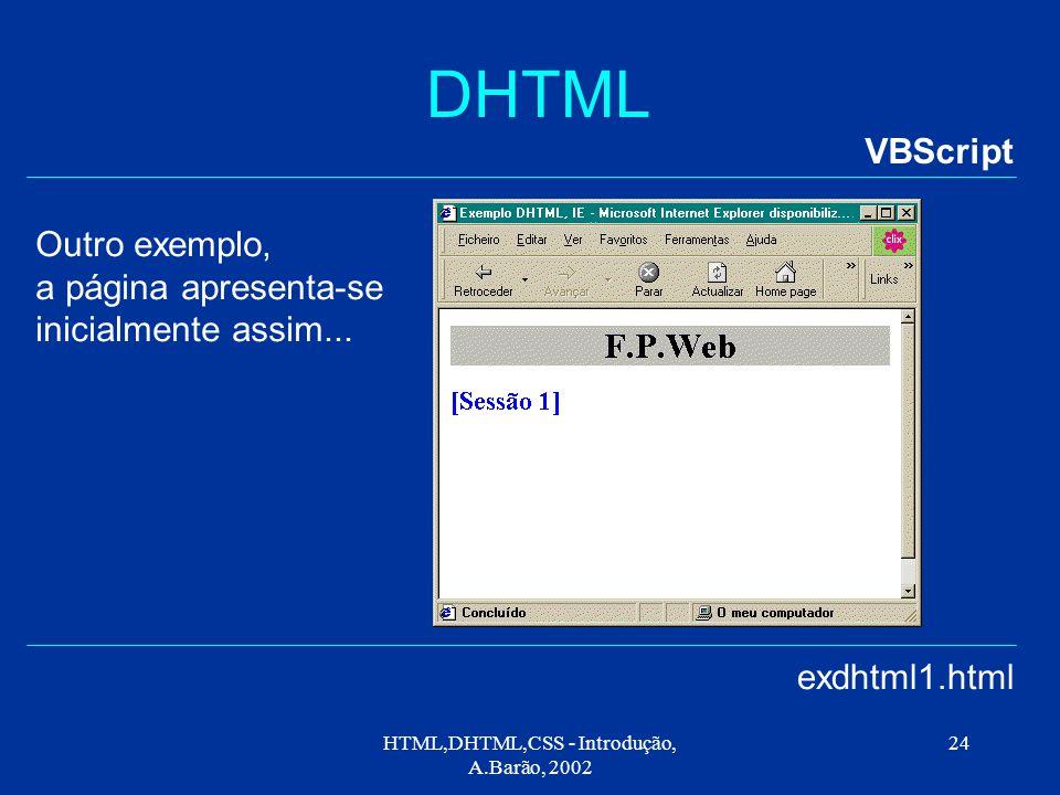 HTML,DHTML,CSS - Introdução, A.Barão, 2002 24 DHTML VBScript exdhtml1.html Outro exemplo, a página apresenta-se inicialmente assim...