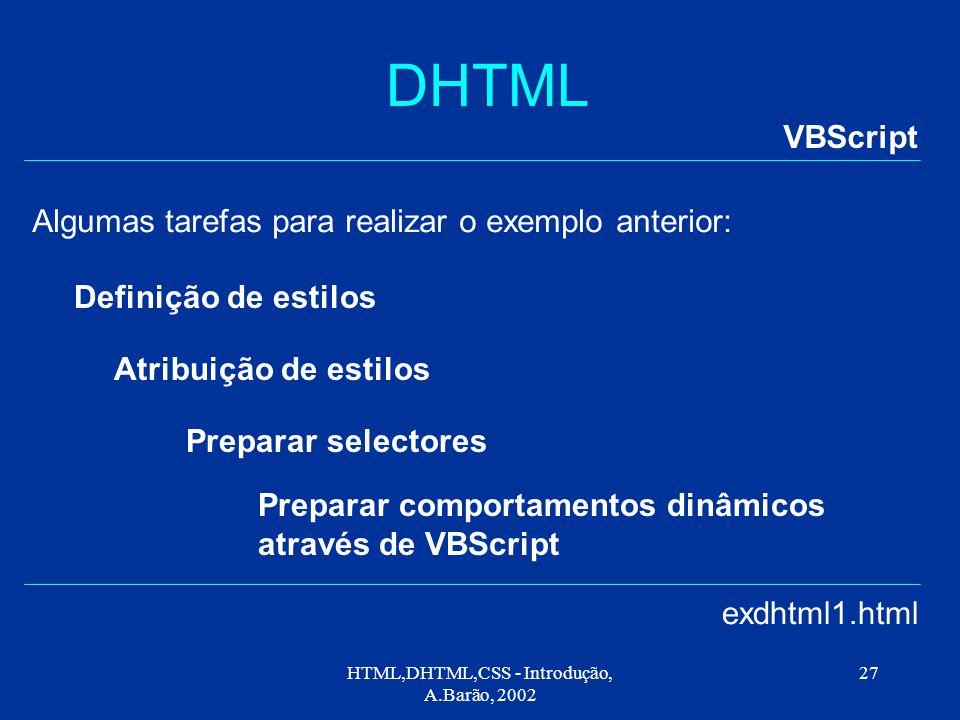 HTML,DHTML,CSS - Introdução, A.Barão, 2002 27 DHTML VBScript exdhtml1.html Algumas tarefas para realizar o exemplo anterior: Definição de estilos Atribuição de estilos Preparar selectores Preparar comportamentos dinâmicos através de VBScript