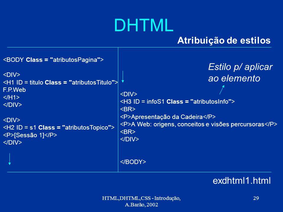 HTML,DHTML,CSS - Introdução, A.Barão, 2002 29 DHTML Atribuição de estilos exdhtml1.html F.P.Web [Sessão 1] Apresentação da Cadeira A Web: origens, conceitos e visões percursoras Estilo p/ aplicar ao elemento