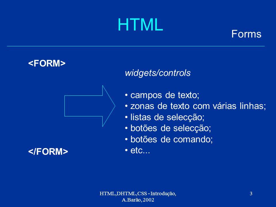 HTML,DHTML,CSS - Introdução, A.Barão, 2002 3 HTML Forms widgets/controls campos de texto; zonas de texto com várias linhas; listas de selecção; botões de selecção; botões de comando; etc...