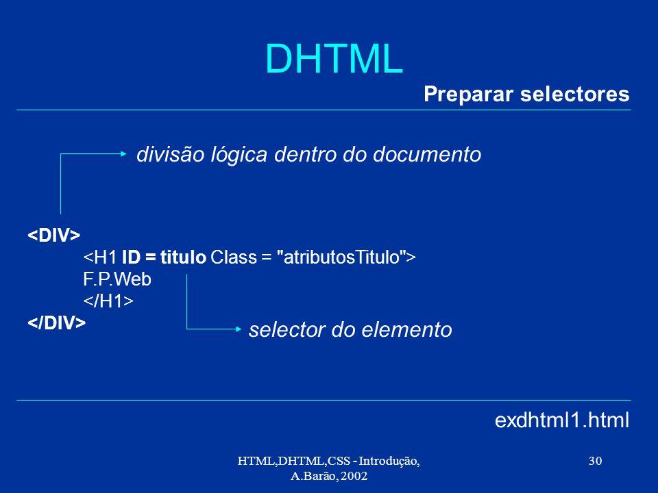HTML,DHTML,CSS - Introdução, A.Barão, 2002 30 DHTML Preparar selectores exdhtml1.html F.P.Web divisão lógica dentro do documento selector do elemento