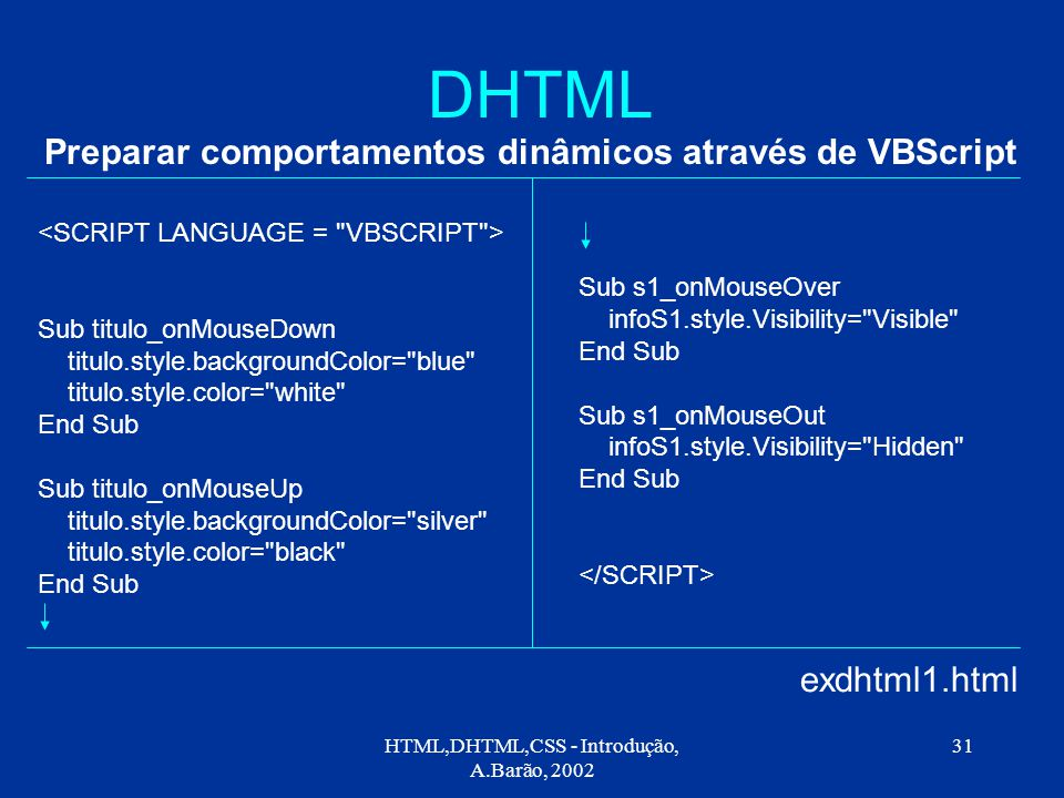 HTML,DHTML,CSS - Introdução, A.Barão, 2002 31 DHTML Preparar comportamentos dinâmicos através de VBScript exdhtml1.html Sub titulo_onMouseDown titulo.style.backgroundColor= blue titulo.style.color= white End Sub Sub titulo_onMouseUp titulo.style.backgroundColor= silver titulo.style.color= black End Sub Sub s1_onMouseOver infoS1.style.Visibility= Visible End Sub Sub s1_onMouseOut infoS1.style.Visibility= Hidden End Sub
